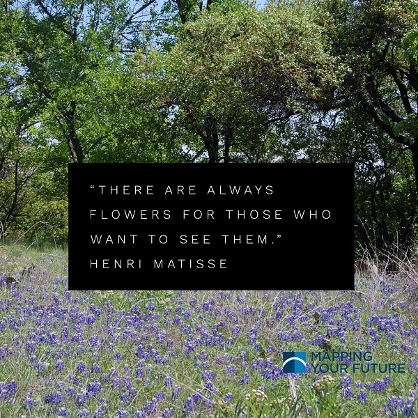 Bluebonnets with Henri Matisse quote