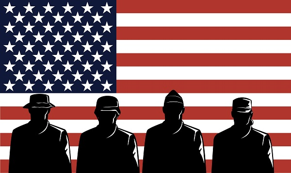 picture of an American flag with outlines of servicemen